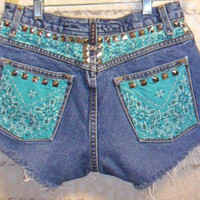 Low Rise Bandana  Distressed STUDDED Denim by GypsysTreasureCove