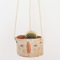 Ceramic Hanging Planter - 'Fifi' Face by Megan Clarke