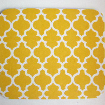 Mouse Pad mousepad / Mat - round - Yellow trellis moroccan - Computer Accessories decor  Custom Desk Coworker Gifts Office Gifts
