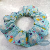 Easter Bunnies and Chicks on Blue Gingham Pet Scrunchie Neck Ruffle | SewAmazin - Pets on ArtFire