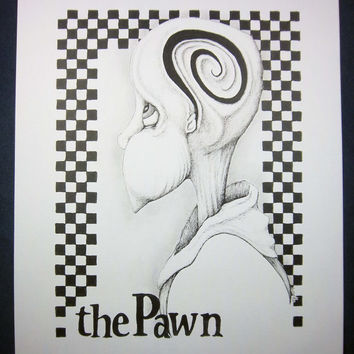 THE PAWN,  Chess Series: Original art, black and white art, surreal portrait, pen and ink drawing, ink illustration, pen drawing 8x10