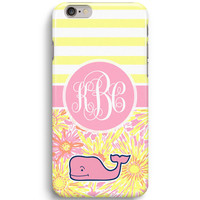 Yellow Stripes Sun Kissed Flower Custom Inspired Lilly Pulitzer Vineyard Vines iPhone 6 Case, iPhone 5S Case