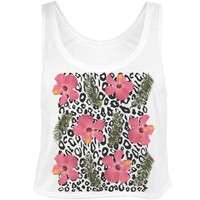 Tropical Leopard: Custom Bella Flowy Boxy Lightweight Crop Top Tank Top - Customized Girl