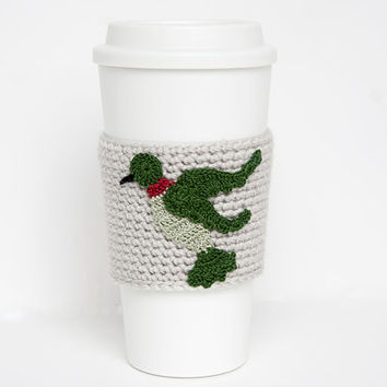 Coffee Cozy, Cup Cozy, Crocheted, Hummingbird applique, Sleeve, Sage and Green,ruby throat, linen colored sleeve