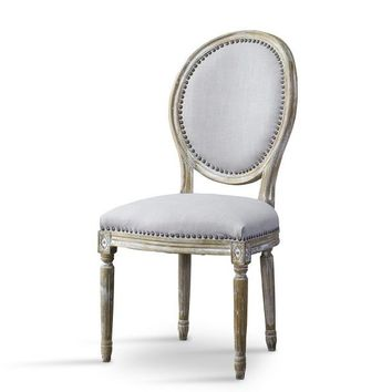 Baxton Studio Clairette Wood Traditional French Accent Chair—Round Set of 1