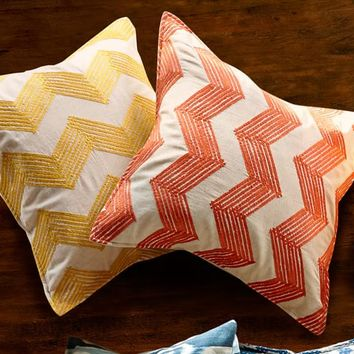 Zig Zag Embroidered Pillow Covers