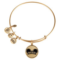 Disney Parks Mickey Ear Charm Bangle Bracelet Alex & Ani Gold New With Tags