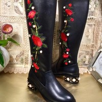 Gucci Women Pearl And Gem Embellished Calf Length Boots Best Quality