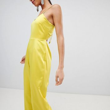 Fashion Union Cami Jumpsuit With Tie Back In Satin at asos.com