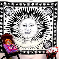 Black White Celestial Indian Sun Hippie Hippy Tapestry Wall Hanging Bed Cover