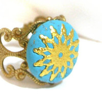 Romantic filigree turquoise gold  ring