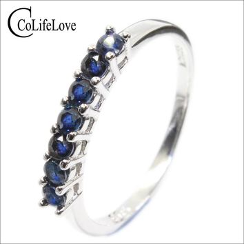 100% natural dark blue sapphire ring for woman 7 PCS 2.5 mm SI grade sapphire ring solid 925 silver sapphire ring romantic gift