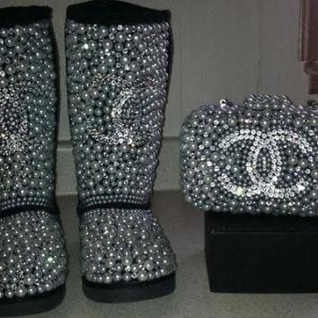 Crystal Pearl Covered Kids Swarvoski Rhimestone Chanel logo Ugg boots snowboots