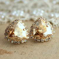 Light Topaz Rhinestone Crystal stud earring bridesmaids gifts bridal earrings - 14k 1 micron Thick plated gold earrings real swarovski.