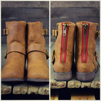 Crossroads Red Zipper Ankle Boots Tan