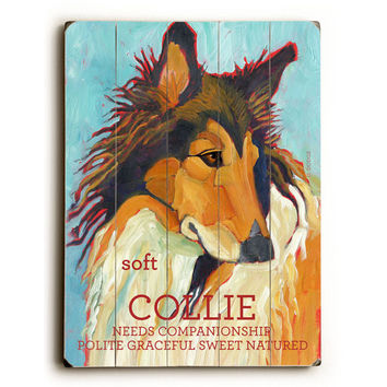 Collie by Artist Ursula Dodge Wood Sign