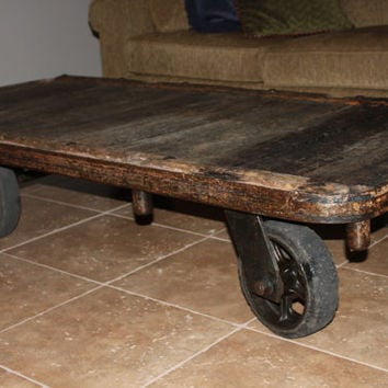 Vintage 1950s Industrial Cart, Coffee Table