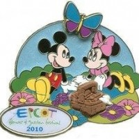 Disney Pins - Epcot Flower and Garden Festival 2010 - Mickey and Minnie Mouse on a Picnic Pin 76050