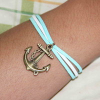 navy anchor rudder bracelet anklet handmade multilayer bracialli  trending bridesmaid fiendship graduation love gifts