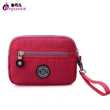JINQIAOER Brand Double Layer Zipper Wallet Wristlet Purses Women Money Bag High Quality Waterproof Nylon Clutches Coin Pocket