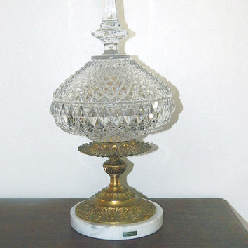 Large Vintage Italian Crystal and Brass Lidded Compote Centerpiece - Marble Base