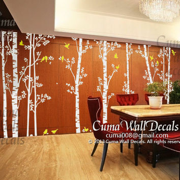 tree wall decal birds nature forest Vinyl wall decals wall decal nursery wall sticker children - 10tree birds deers Z147 Cuma