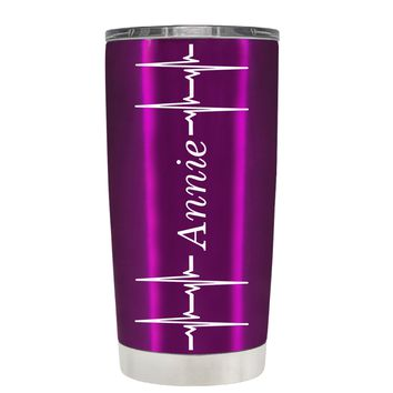 Personalized Heart Beat Pulse on Translucent Raspberry 20 oz Tumbler Cup