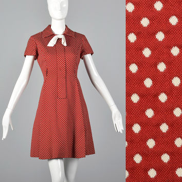 Medium 1960s Dress Red Polka Dot Dress Short Sleeves Day Wear Casual Summer Fitted Waist Flared Skirt 60s Vintage