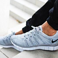 """NIKE"" Trending Free Knit Fly Line Fashion casual sports shoes Light Grey"