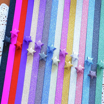 Folding Origami / Paper Lucky Star Assorted / Favour Strips 2 Colors Mixed /Glitter Bling Shiny 40 Stripes
