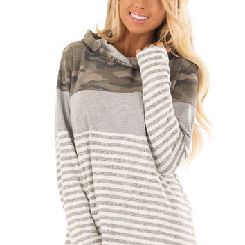 Heather Grey Stripe and Camouflage Hoodie