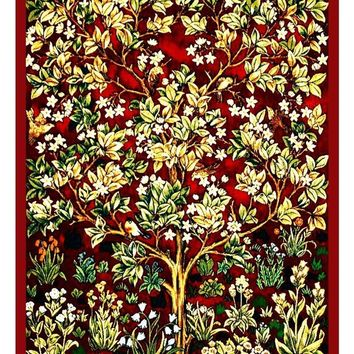 William Morris Red Tree of Life Counted Cross Stitch or Counted Needlepoint Pattern