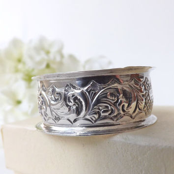 Antique Silver Sterling Napkin Ring 1904, Godparent Gift,  Baby Shower, Christening, Baptism Gift, Serviette Ring, Birmingham UK