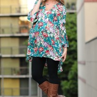Jade Floral Bell Sleeve Maternity Tunic
