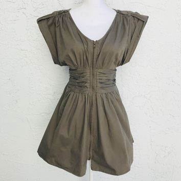 Wet Seal Zip Front Cotton Empire Waist Olive Dress, Size Large