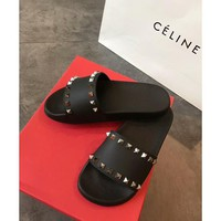 Valentino spring and summer new rivet flat shoes ladies slippers beach shoes F-RCSTXC black