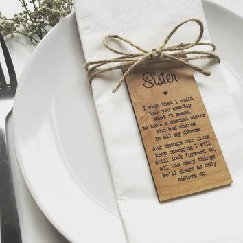 Sister Table cards, Rustic Wedding decor,Personalize gifts