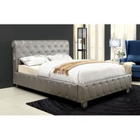 Furniture Of America Juilliard Silver Finish Leatherette Upholstered Queen Bed - Walmart.com