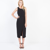 Conley Structured Crossover Dress (Black)