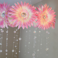 flower baby mobile, baby girl mobile, pink and white  mobile, baby mobile, pink flower mobile, princess mobile, crystal baby mobile