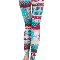 Casual Multi Colors Faux Tie-Dye Tribal Print Stretch Sexy Ankle Legging