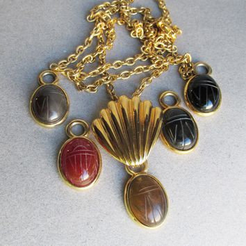 "Signed ""W"" Interchangeable Gemstone Scarab Vintage Necklace & Pierced Dangle Earrings Set"