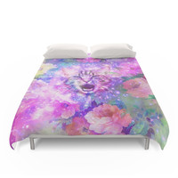 Society6 Space Cat | Girly Kitten Cat Romantic Floral Pink Nebula Space Duvet Covers