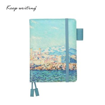 A6 notebook Grid Paper Lined Dotted Diary Blank pages can choose planners journal Stationery small notepad Oil painting cover