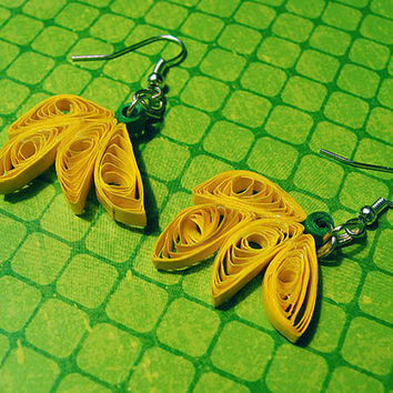 Quilled Banana Earrings