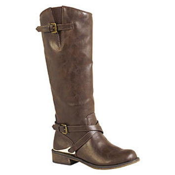 SM New York- -Women's Dixie Mid-Calf Brown Riding Boots-Shoes-Womens Shoes-Womens Boots