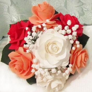 rose wedding bouquet - Bridal bouquet. Light coral, peachy, red, white rose bouquet