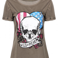 Grey T-Shirt with Skull Print