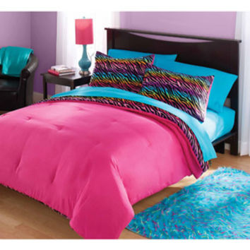 Walmart: your zone mink rainbow zebra bedding comforter set