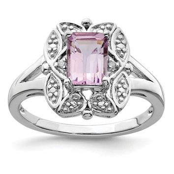 Sterling Silver Diamond Accented Pink Quartz Rose De France Amethyst Octagon Ring